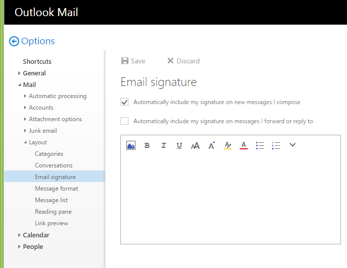 how to write the signature in outlook