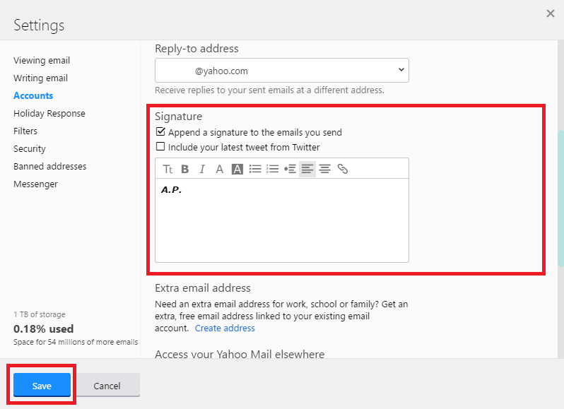 yahoo mail how to set or add signature