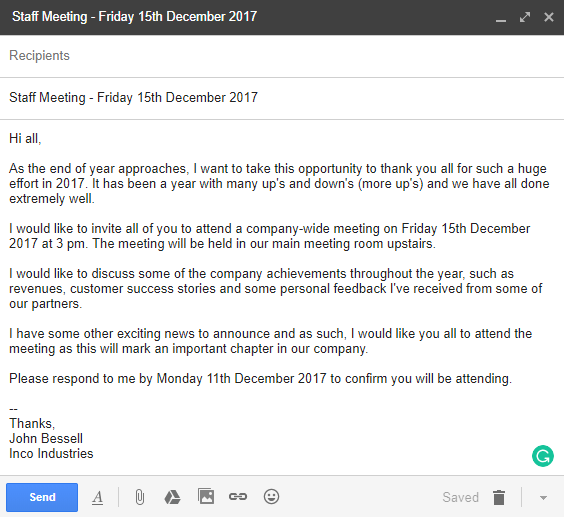 business meeting invitation letter example