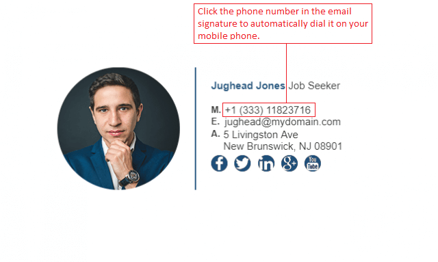 Click to Call Email Signature Example