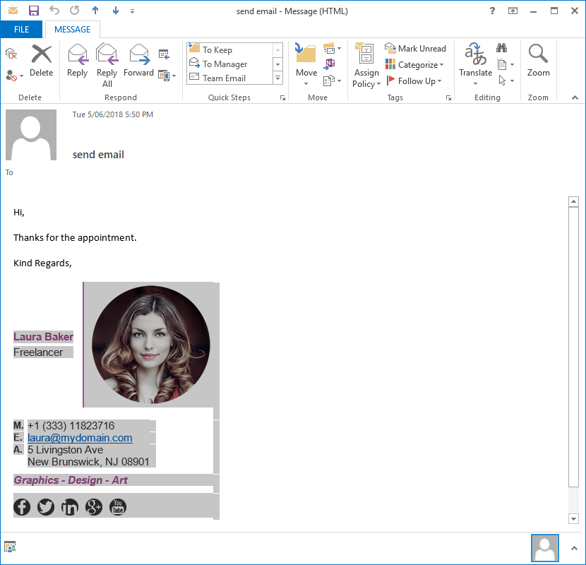 Copy Outlook Email Signature