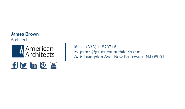 Email Signature Example for Architect