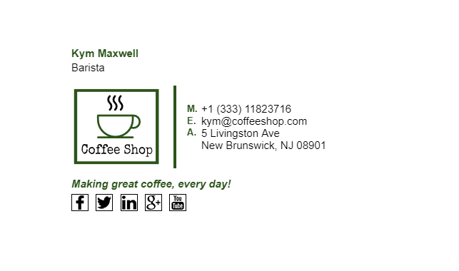 Email Signature Example for Barista