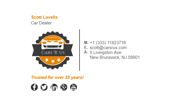 Email Signature Example for Car Dealer