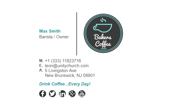 Email Signature Example for Coffee Shop