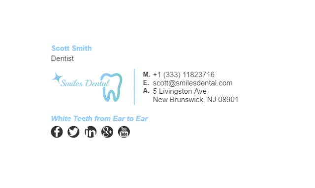 Email Signature Example for Dentist