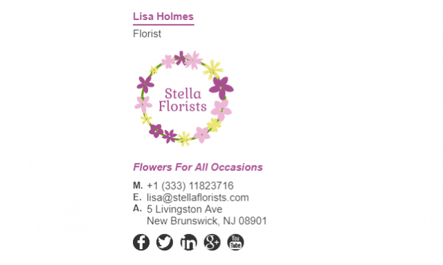 Email Signature Example for Florist