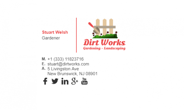 Email Signature Example for Gardener