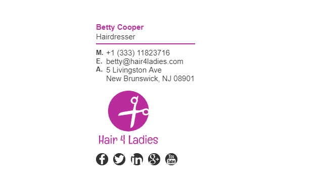 Email Signature Example for Hairdresser