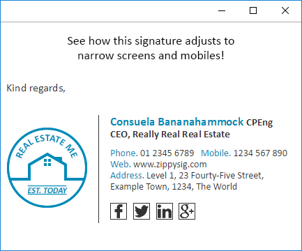 mobile phone email signature example
