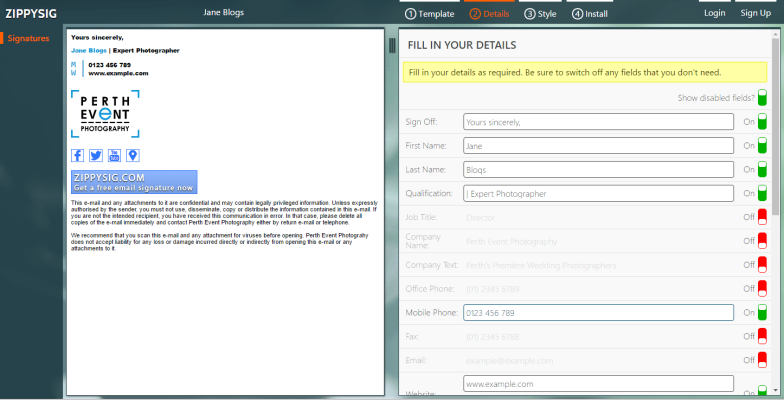 Email Signature Generator Live Screenshot
